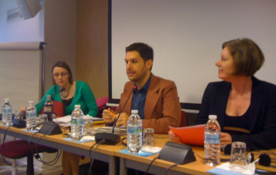 from left to right – Sara Piller, EC, Sergi Corbalan Fair Trade Advocacy Office, Kathleen Walker-Shaw, GMB