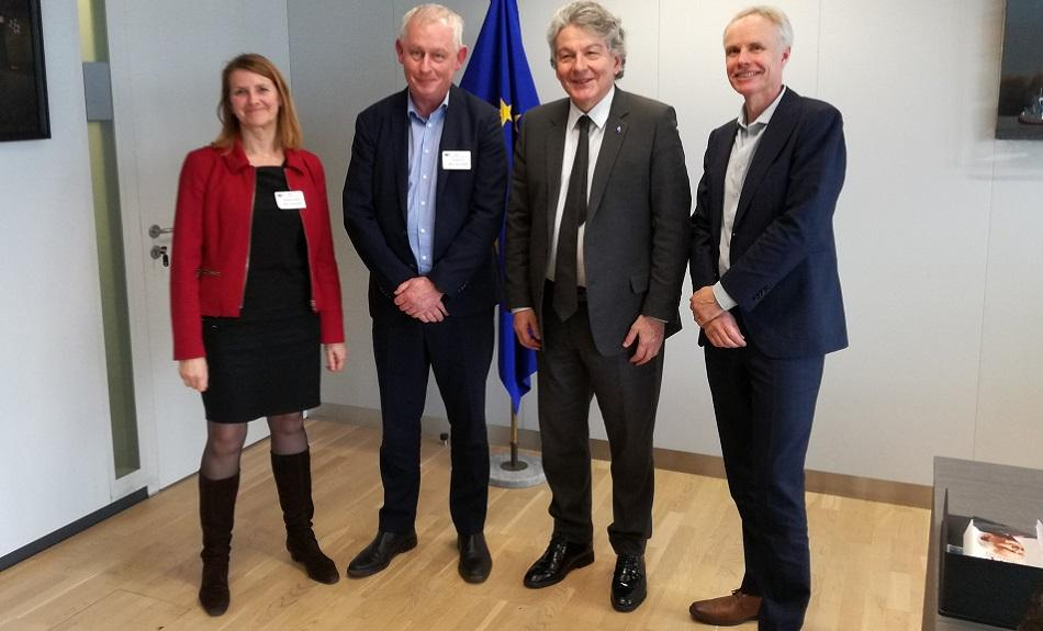 EPSU General Secretary, IndustriAll-Europe General Secretary L. Triangle, ETUC Confederal Secretary I. Schömann meeting with Com T. BRETON, 10 February 2020