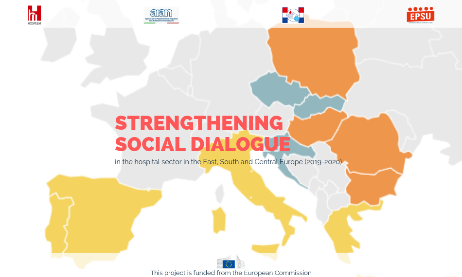 """EPSU HOSPEEM project Strengthening social dialogue in the hospital sector in the East, South and Central Europe"""" 2019 and 2020"""