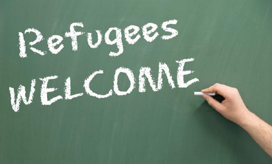 Refugees welcom chalkboard