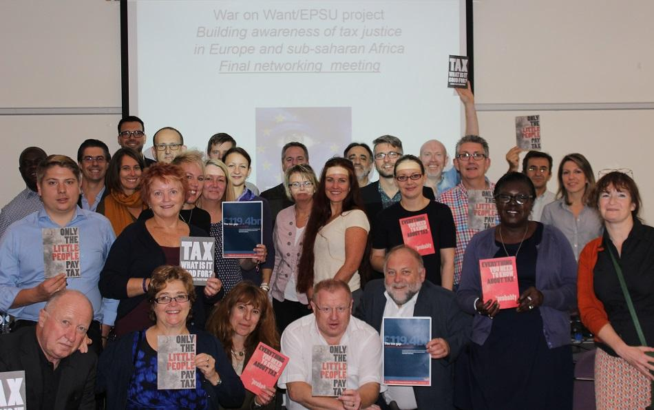 Workers in public administration at EPSU training on tax justice October 2015