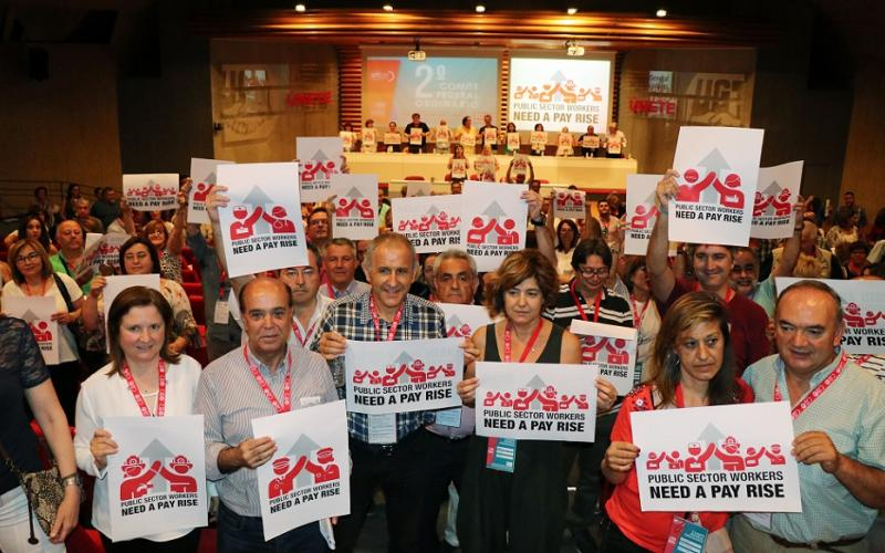 UGT FSP delegates showing support for PS Day 23 June 2017