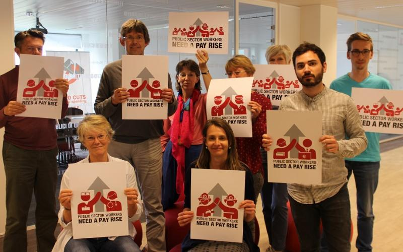 EPSU team - Public Sector Workers need a pay rise - for PS Day 23 June 2017