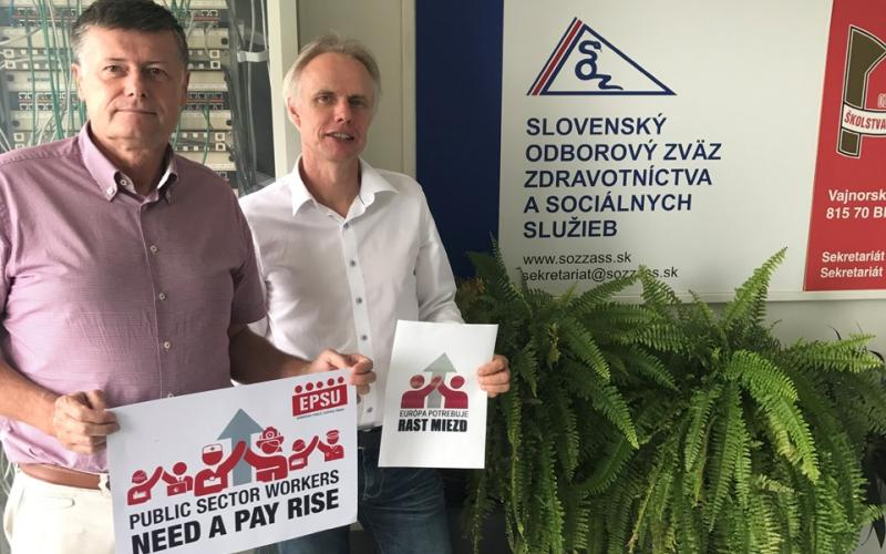 With Anton Szalay Slovak health and social service workers Bratislava 24.08.2017 - Pay rise