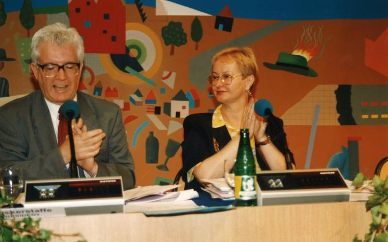 Rodney Bickerstaffe and Carola Fischbach-Pyttel, EPSU General Secretary from 1996 to 2014, at EPSU General Assembly 1996, Vienna
