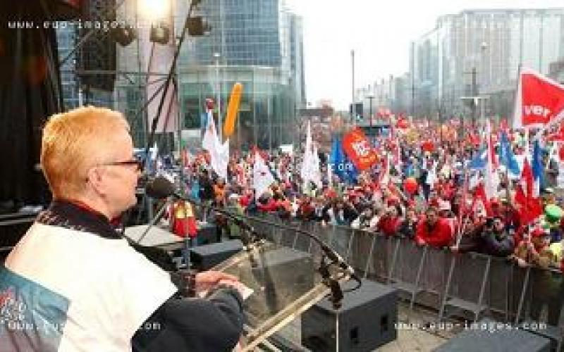 EPSU General Secretary, Carola Fischbach-Pyttel, addresses Saturday's demonstration