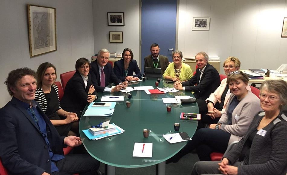 EPSU President & Vice Presidents, GS and DGS, meet with EU negotiator Barnier, 12 January 2017