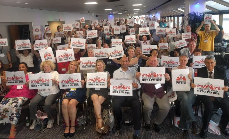 2017.06.19 Unison delegates conference showing support for Public Services Day Campaign Pay Rise Brighton EPSU GS Unison GS Dave Prentis
