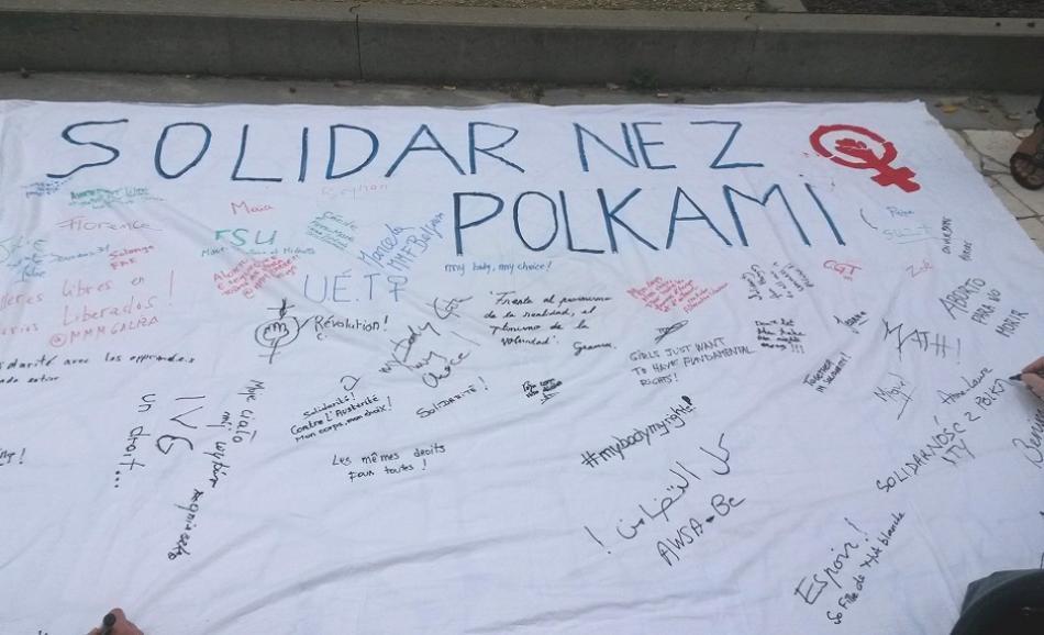 white sheet solidarity Polish women abortion