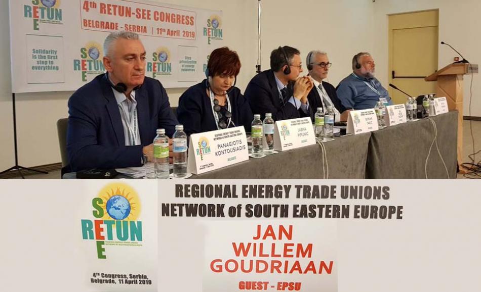 Presidium of the 4. Congress RETUN-SEE in Belgrade, 11 April 2019 - EPSU GS joins energy unions South East Europe