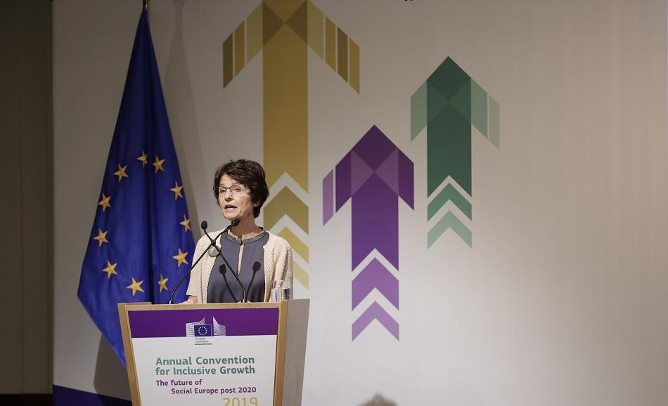 Commissioner Marianne Thyssen, DG EMPL, delivering her speech in the opening session