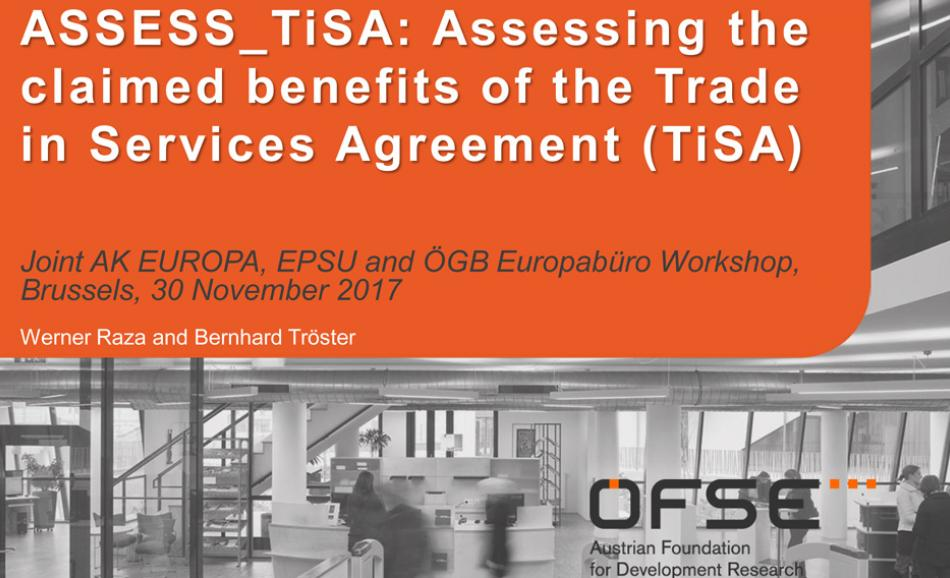 2017.11.30 Joint ASSESS TiSA workshop organised by AK EUROPA, EPSU and the ÖGB Europabüro, Brussels