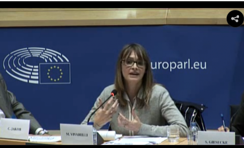 Christine Jakob, EPSU, speaking at the workshop in the European Parliament on Technology and Job Losses October 2016