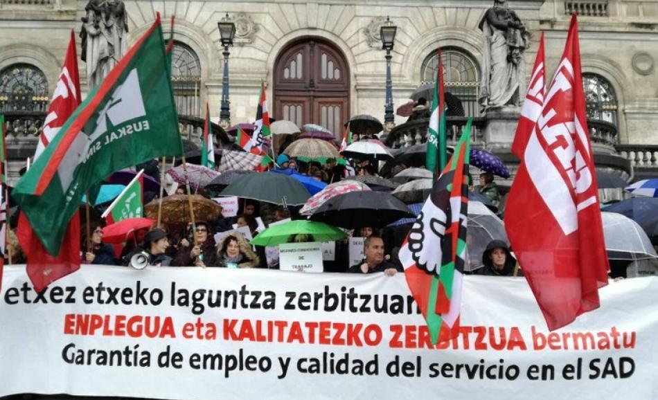 ELA, LAB, UGT y USO home care workers Bilbao Basque region