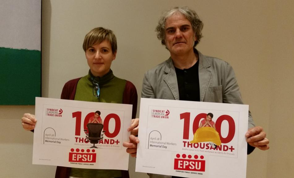 EPSU Executive Committee members support ETUC campaign H&S 16.04.19