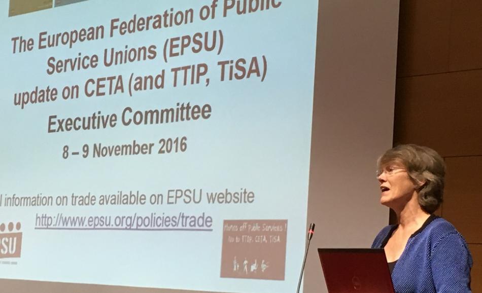EPSU Executive Committee 8-9 November 2016, Penny Clarke EPSU DGS presenting CETA
