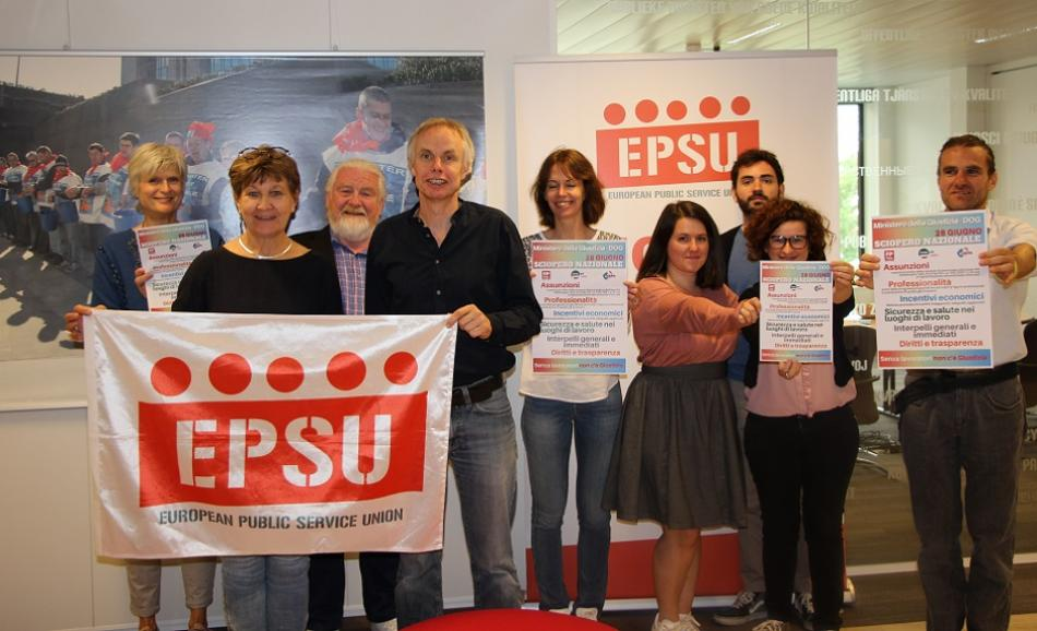 EPSU President Mette Nord and EPSU Staff solidarity Italy June 2019