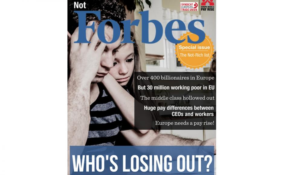 ETUC pay rise campaign - not rich cover fake Forbes