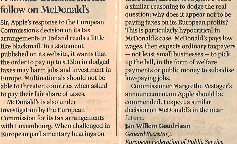 Letter from Jan Willem Goudriaan, EPSU General Secretary, published in the  Financial Times, 1st September 2016
