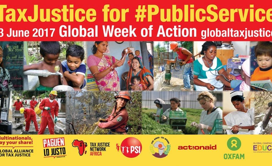 Global Alliance Tax Justice logo PSI & allies Public Services Global Week of Action