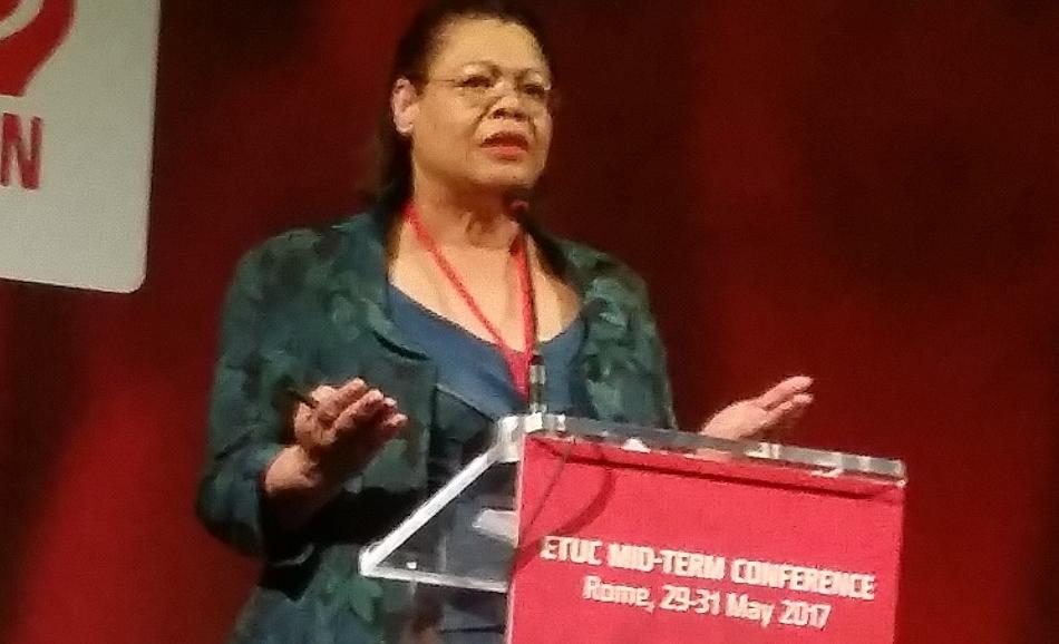 Gloria Mills, ETUC and EPSU Women's Committee President, speaking at ETUC Mid-Term Conference, 29-31 May, Roma