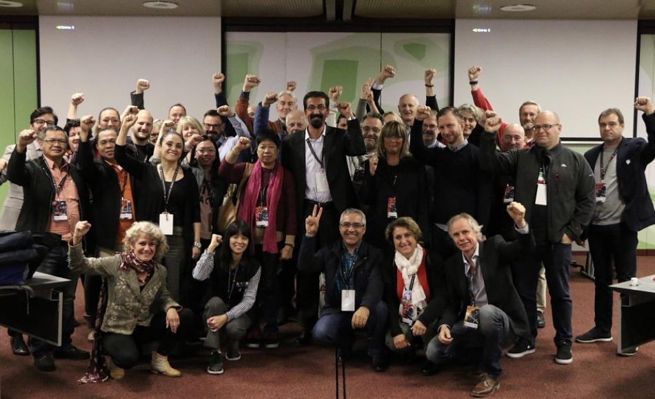 Solidarity with Lami Ozgen, ex-President KESK and affiliates Turkey (ESM, SES, Yapi-Yol-Sen), 02112017, Geneve, PSI Congress