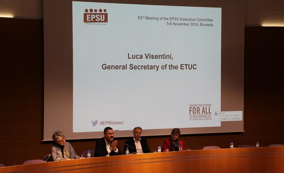 EPSU Executive Committee 5-6 November 2019 Luca Visentini ETUC General Secreatary speaking
