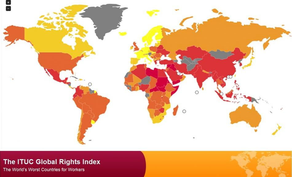 ITUC Global Rights index map