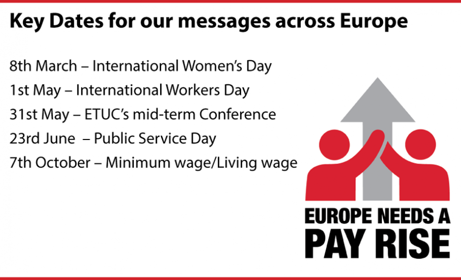 Key dates ETUC pay rise campaign