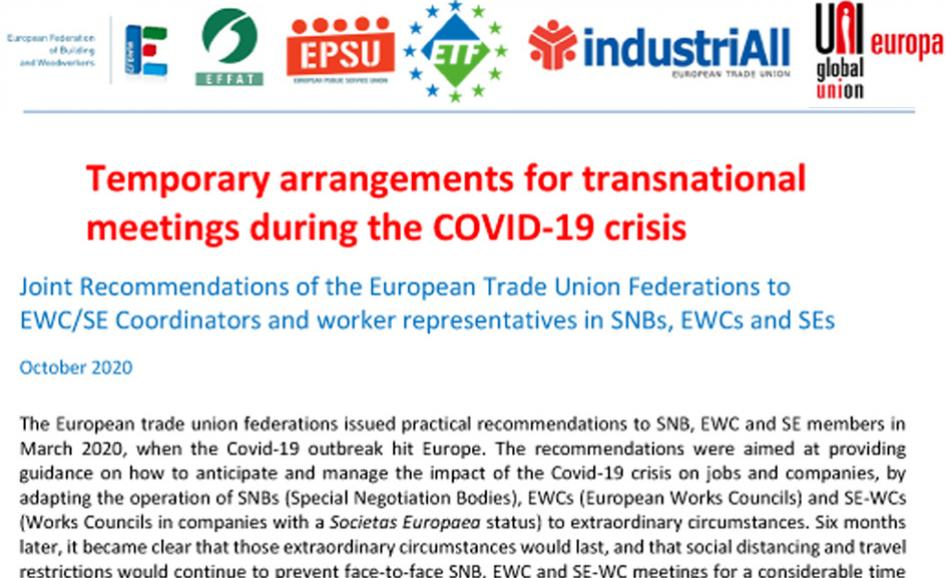 UPDATE Oct 2020- ETUFs recommendations to EWC SE during Covid-19