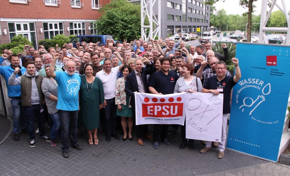 Trade unionists and workcouncil members in the German water industry sent a powerful message of solidarity to their Greek colleagues, Dortmund, 18 May 2017