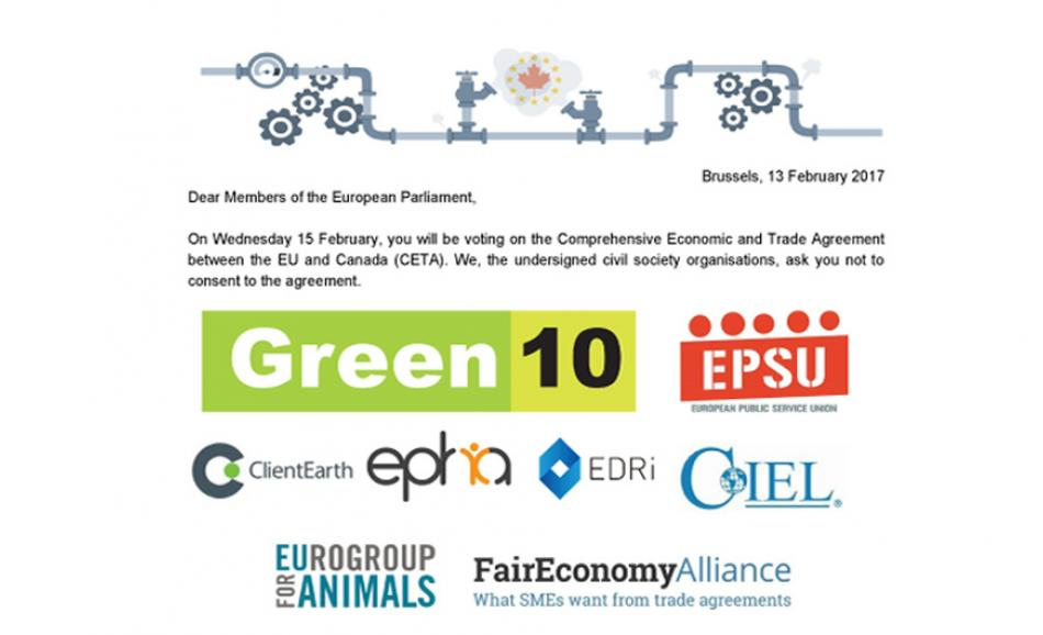 Civil society letter asking EP to reject CETA