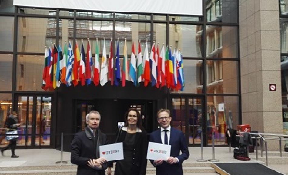 ETUC delegation to the Macro-Economic Social Dialogue Political Level, 11 February 2016, Brussels- from left to right: J.W. Goudriaan EPSU General Secretary,  V. Nilsson, ETUC deputy General Secretary, M. Limmen, CNV President