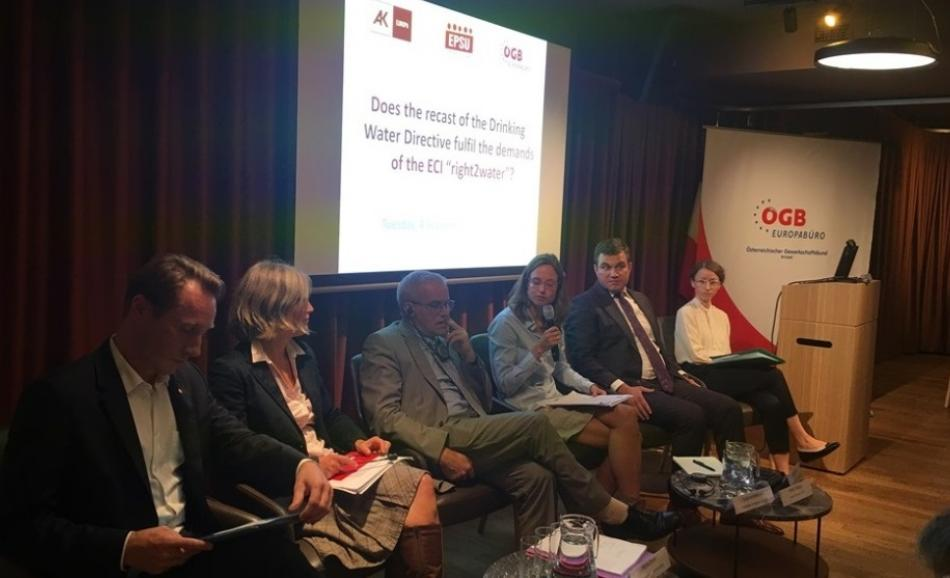 panel discussion on 4 September at the Austrian permanent representation on ECI right to water
