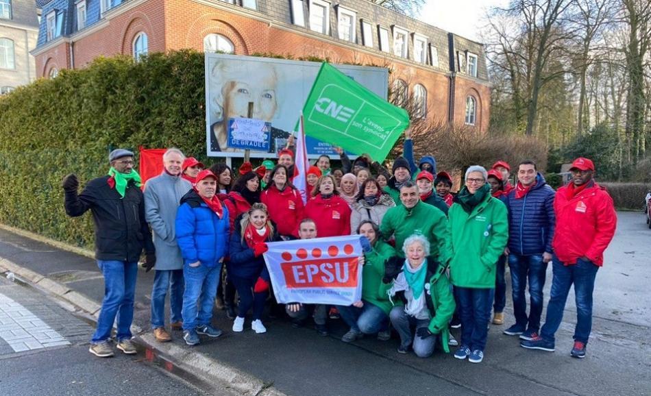 EPSU solidarity with striking workers in elderly home ORPEA Waterloo, Belgium 3 March 2020