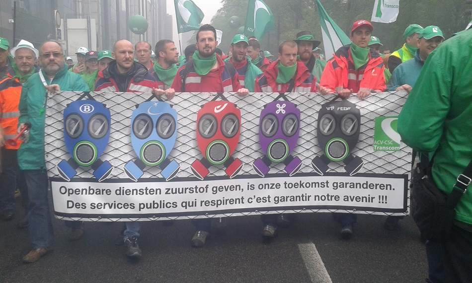 Public Services unions demonstration in Brussels on 31 May 2016