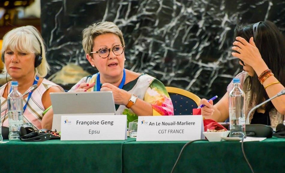 EPSU Vice-President Françoise Geng speaking at EIGE learning seminar, 3 July 2018