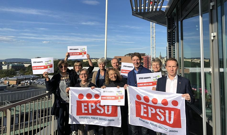 EPSU President, Vice Presidents, General Secretary and Deputy General Secretary support climate actions 20 September 2019, Oslo