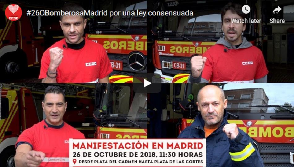 Bomberos de todo el Estado se manifiestan hoy en Madrid por una regulación estatal consensuada