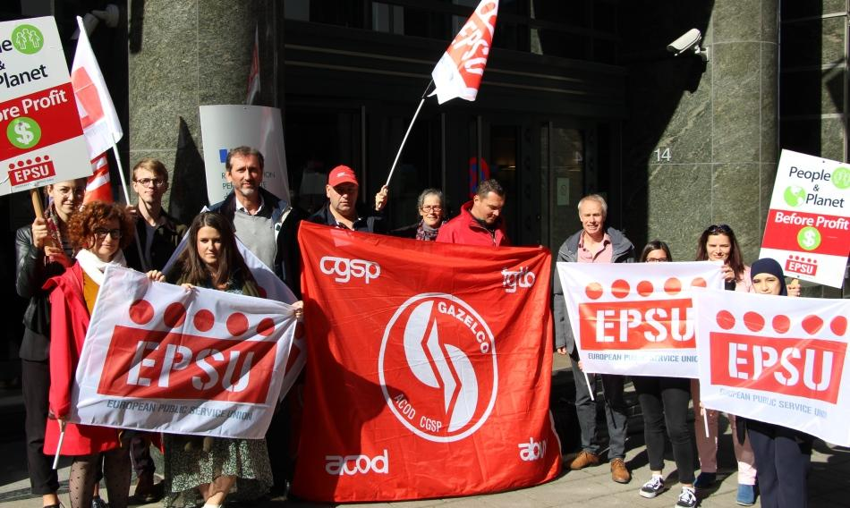 protest at French permanent representation E U in Brussels in solidarity with French workers EDF