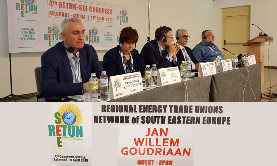 Presidium of the 4. Congress RETUN-SEE in Belgrade, 11 April 2019 - EPSU GS joins energy unions South East Europe