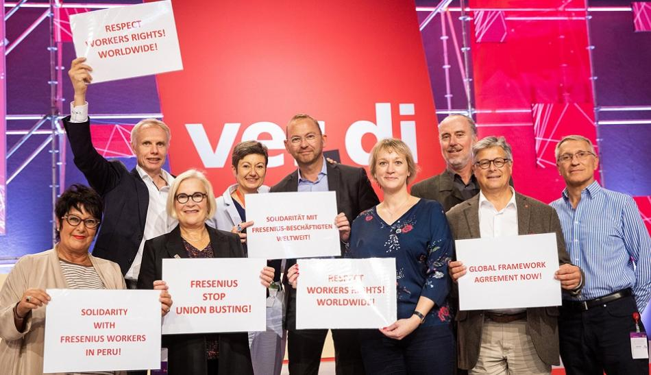 Action Fresenius Verdi Congress with Sylvia Buhler, Frank Werneke, Rosa Pavanelli, JW Goudriaan, 25092019