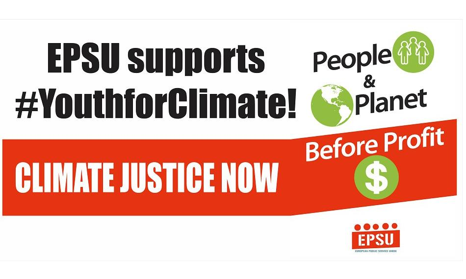 EPSU banner 15 March climate march