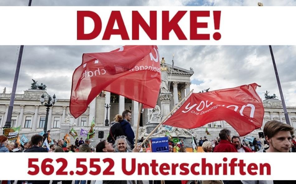 562552 signatures in Austria against CETA