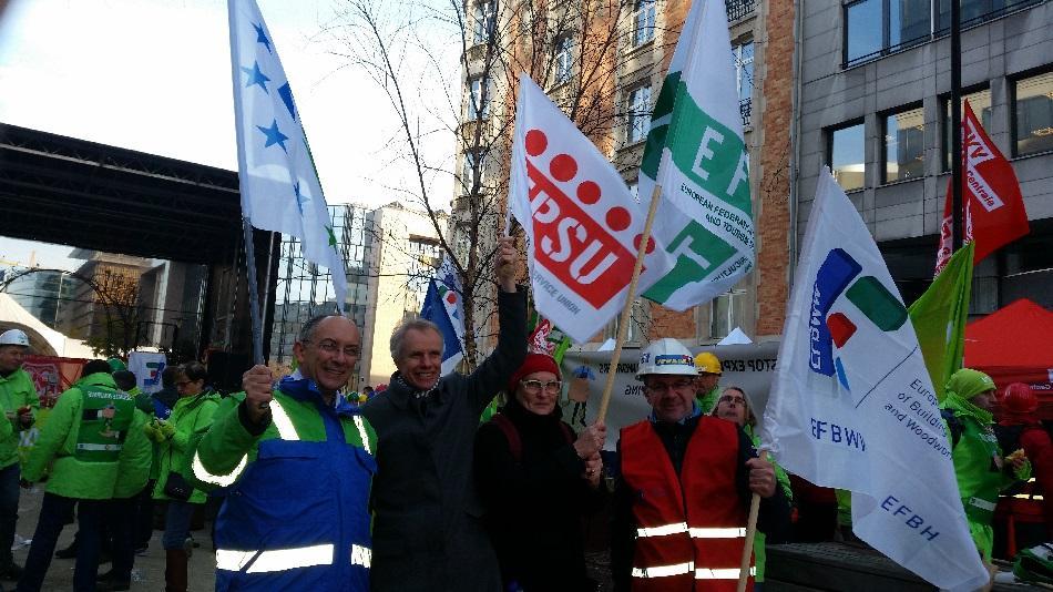 EFBWW ETF EFFAT EPSU against services passport demo 8 December 2016 Brussels