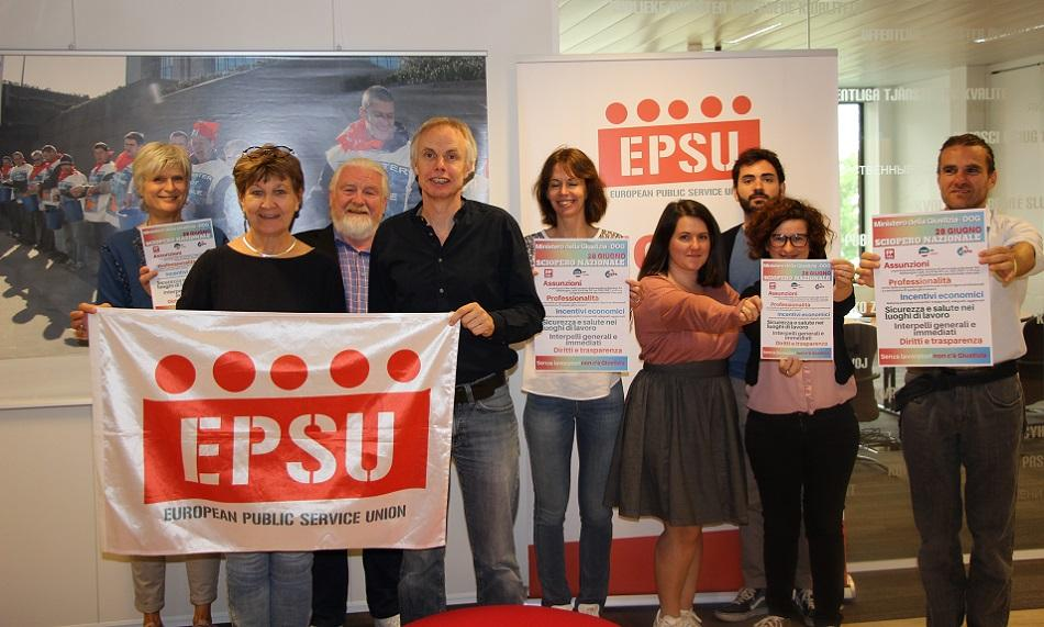 EPSU President Mette Nord and EPSU Staff solidarity Italy June 2019