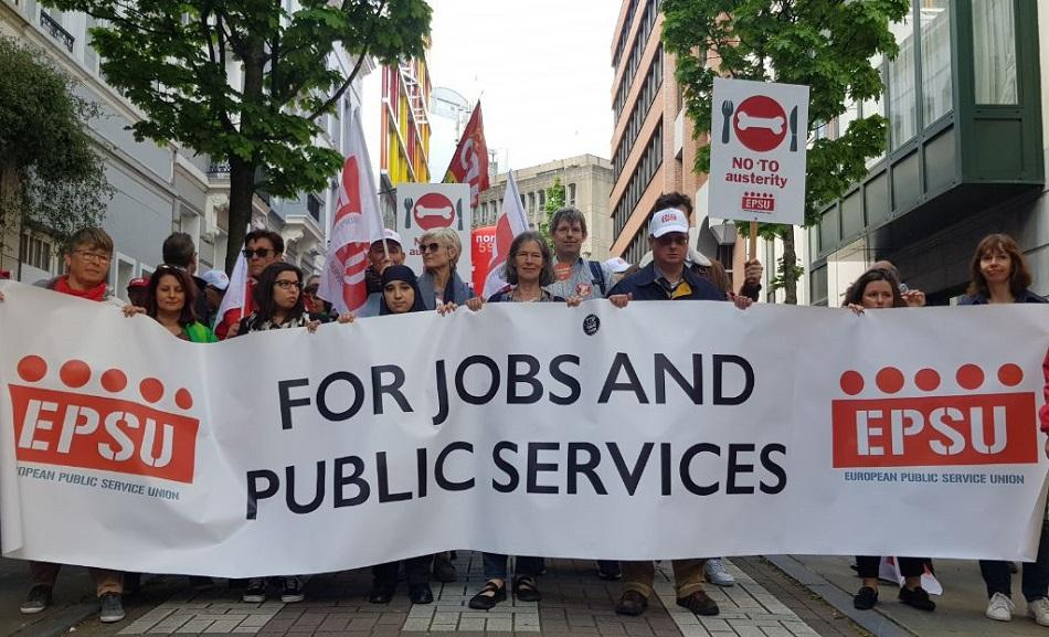 EPSU in ETUC Euro-Demo on 26 April 2019, Brussels