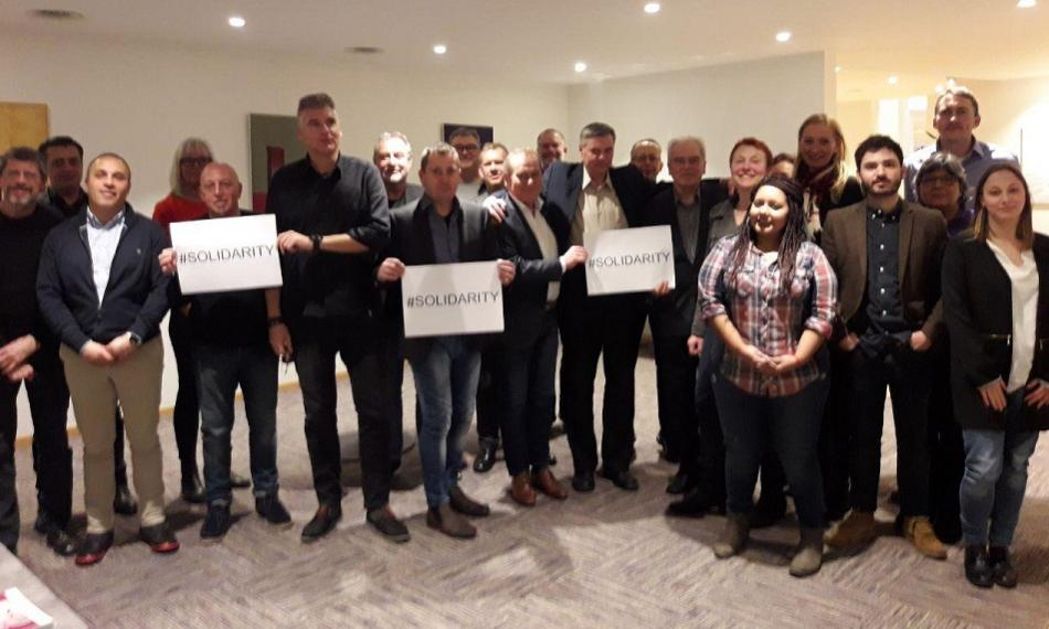 Members of EPSU Standing Committee on Utilities support Danish unions, 22 March 2018
