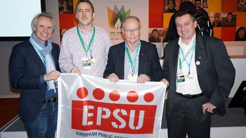 EPSU delegation at the COP21, Paris, December 2015