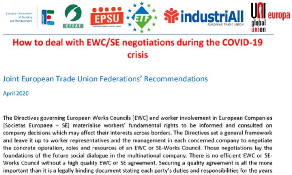ETUFs logo joint recommendations 2nd version EWC SE on COVID-19